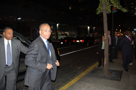 Bill Thompson entering his Hilton Headquarters in midtown.